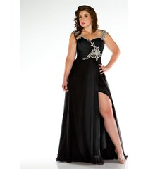 plus size side split prom dress sexy black formal long evening dresses beads