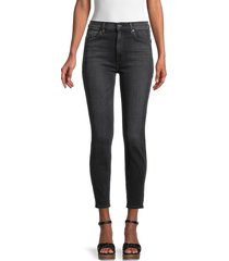 7 for all mankind women's highwaisted ankle skinny jeans - black - size 30 (8-10)