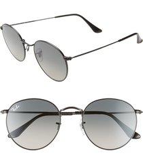 women's ray-ban 53mm round retro sunglasses - black/ black gradient