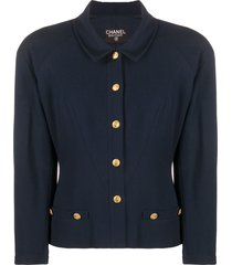 chanel pre-owned cc button crepe jacket - blue