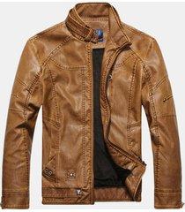 uomo giacca pesante in pelle pu di stile europeo americano con zip e tasche