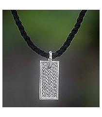 men's leather pendant necklace, 'patience' (indonesia)