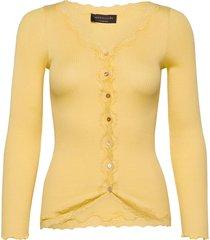 silk cardigan ls w/ lace gebreide trui cardigan geel rosemunde