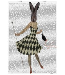 "fab funky rabbit in black white dress canvas art - 19.5"" x 26"""