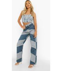 boyfriend jeans met contrasterend paneel, mid blue