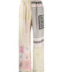 marine serre patchwork print track trousers - neutrals