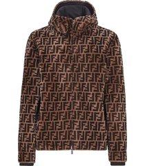 men's fendi reversible ff genuine shearling & leather hooded jacket
