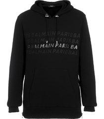 balmain logo print drawstring hoodie