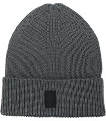 marcelo burlon county of milan cross ribbed-knit beanie - grey