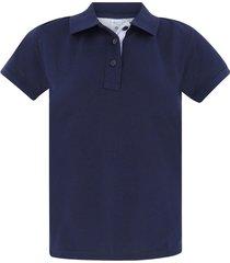 camiseta tipo polo para mujer azul oscura hamer fondo entero