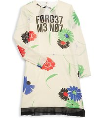 redvalentino women's floral stretch-silk dress - latte - size 40 (8)