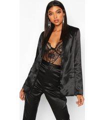 tall satin blazer, black