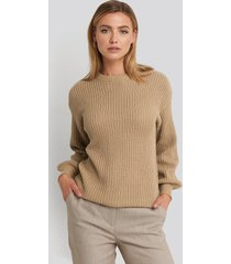 na-kd dropped shoulder knitted sweater - beige