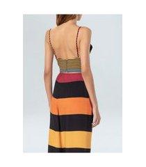 top sunrise stripes osklen recortes-preto/laranja