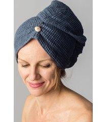 100% natural waffle weave linen sauna bath hair towel turban blue  new