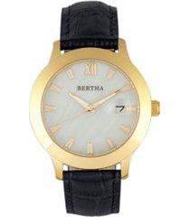 bertha quartz eden collection black and gold leather watch 38mm