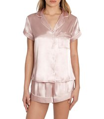 women's in bloom by jonquil the mrs satin short pajamas, size large - pink