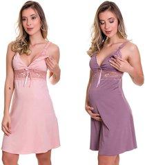 kit 2 camisola amamentação estilo sedutor em microfibra 1 rosa e 1 lilás - es206-v57