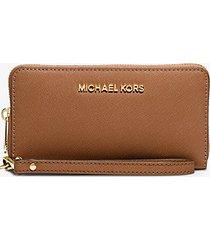 mk pochette da polso jet set travel grande per smartphone - cuoio (marrone) - michael kors
