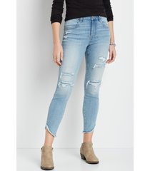 maurices womens jeans denimflex™ high rise back ripped scallop hem jegging blue denim