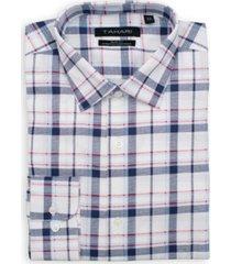 tahari men's slim fit non-iron, wrinkle resistant performance stretch dress shirt - plaid