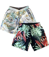 kit 2 shorts praia masculino estampado microfibra com elastano bolsos laterais kit-2un-095.1 colorido