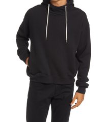 john elliott men's mock neck cotton hoodie, size xx-large in black at nordstrom