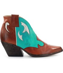 elena iachi leather turquoise texan style bootie