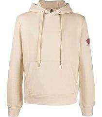neil barrett heart-embroidered hoodie - neutrals