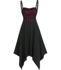 bowknot skull lace panel asymmetrical cami dress