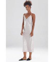 natori decadence nightgown, women's, silver, size l natori