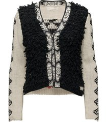 gaucho cardigan stickad tröja cardigan svart odd molly