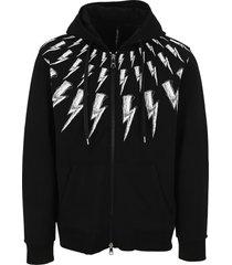 neil barrett thunderbolt zipped hoodie