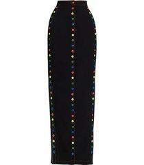 ultra slim button maxi skirt