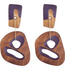 cutout wood drop earrings