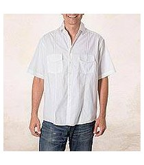 men's cotton guayabera shirt, 'salvadoran freshness' (el salvador)