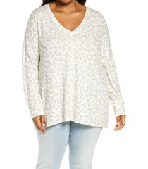 plus size women's gibsonlook v-neck tunic top, size 1x - ivory