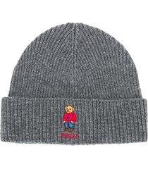 polo ralph lauren teddy-embroidered logo beanie - grey