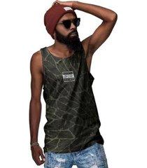 camiseta regata parental advisory textura em verde - masculino