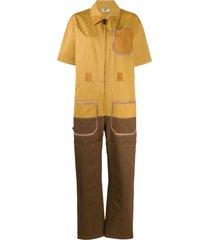fendi two-tone utility jumpsuit - yellow