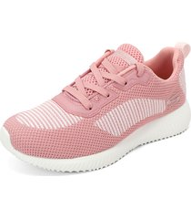 tenis running rosa-blanco skechers bobs sport squad - turn up