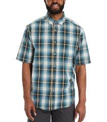 wolverine men's mortar short sleeve shirt ink blue plaid, size m