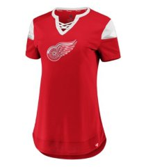 majestic detroit red wings women's athena lace up shirt