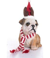 trans pac resin santa hat bulldog pup