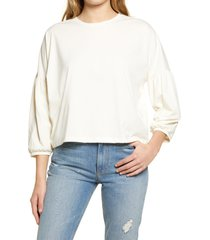 women's madewell crepe drop shoulder bubble sleeve top, size small - ivory