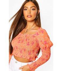 woven floral shirred top, orange