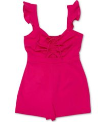 bar iii ruched-front flutter romper, created for macy's
