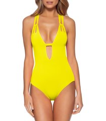 women's becca color code one-piece swimsuit, size large - yellow