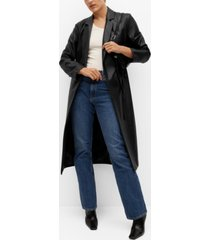 mango women's belt leather-effect coat