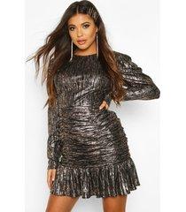 metallic crinkle long sleeved dress, rose gold